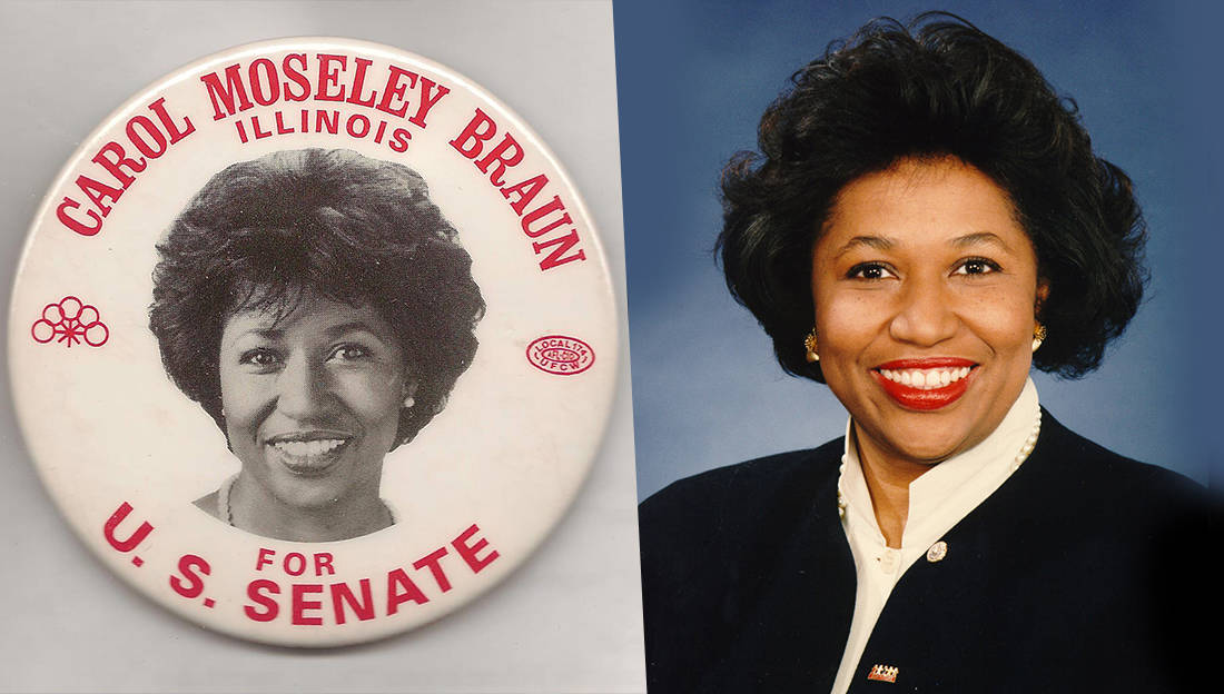 Image result for carol moseley became the  first black woman to be elected to the u.s. senate