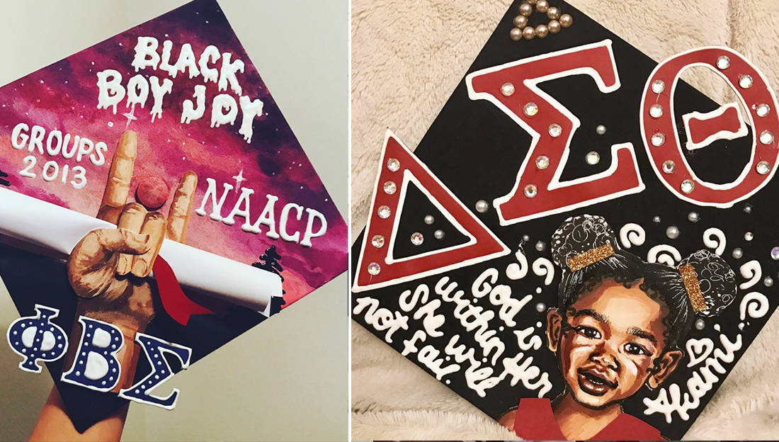Best graduation caps black fraternity sorority