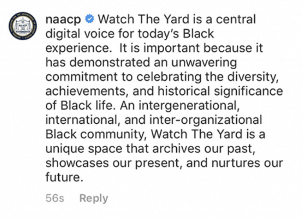 Naacp watch the yard statement